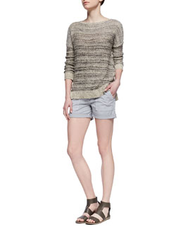 Vince Drop-Shoulder Boat-Neck Sweater & Cuffed Patch-Pocket Twill Shorts