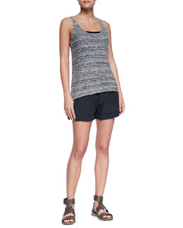 Vince Knit Sweater Tank, Printed Silk Stripe-Hem Top & Cuffed Linen Shorts
