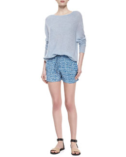 Vince Lightweight Loose Cashmere Sweater & Static-Print Silk Drawstring Shorts