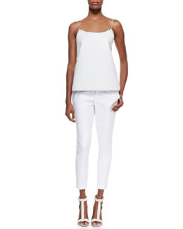 Vince Leather Camisole & Slim Cropped Zipper-Cuff Pants