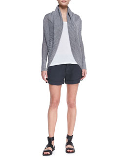 Vince Shawl-Collar Linen Cardigan, Loose Sleeveless Jersey Tank & Cuffed Linen Shorts