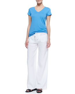 Vince Short-Sleeve V-Neck Tee and Linen Beach Pants