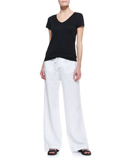Vince Cotton Short-Sleeve V-Neck Tee & Drawstring Linen Beach Pants