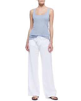Vince Favorite Solid Tank in Blueberry and Linen Beach Pants
