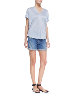 Vince Shimmery V-Neck Slub Tee & Distressed Denim Cuffed Boyfriend Shorts