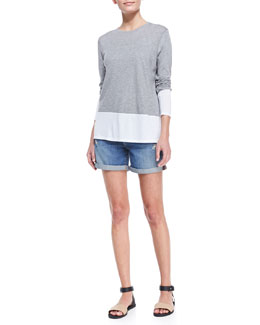 Vince Colorblock Split-Hem Top & Distressed Denim Cuffed Boyfriend Shorts