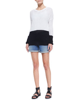 Vince Drop-Shoulder Colorblock Sweater & Distressed Denim Cuffed Boyfriend Shorts