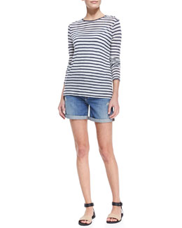 Vince Long-Sleeve Striped Tee & Distressed Denim Cuffed Boyfriend Shorts