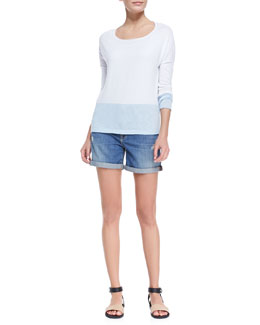 Vince Colorblock Boat-Neck Slub Top & Distressed Denim Cuffed Boyfriend Shorts