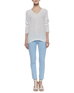 Vince Stitched-Knit V-Neck Sweater & Ghost-Stripe Cropped Skinny Jeans