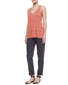 Vince Striped Racerback Slub Tank & Relaxed Twill Cuffed Boyfriend Trousers