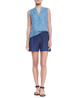 Vince Static-Print Sleeveless Silk Blouse & Drawstring-Waist Relaxed Boxing Shorts