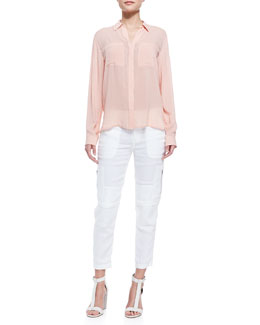 Vince Long-Sleeve Button-Front Blouse & Cropped Linen-Blend Cargo Pants