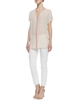Vince Two-Tone Short-Sleeve Silk Blouse & Dylan Slim Ankle Jeans