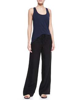 Vince Loose Arched-Hem Tank & Wide-Leg Linen Beach Pants