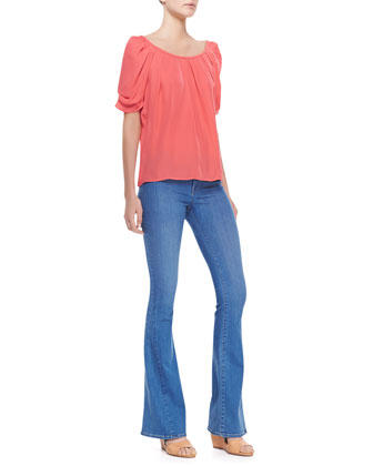 Eleanor Gathered Half-Sleeve Blouse & Mid-Rise Flare Jeans