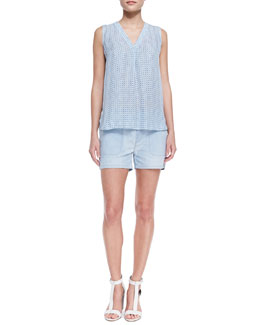Vince Printed Sleeveless V-Neck Blouse & Chambray Pocket Shorts