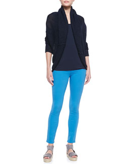 Vince Rib-Trim Linen Circle Cardigan, Draped Scoop-Neck Tank & Riley Lightweight Legging Jeans