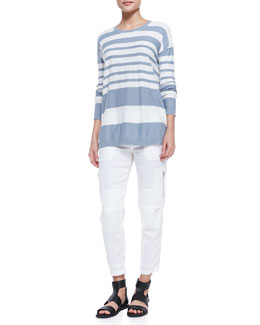 Vince Striped Cotton Knit Sweater & Cropped Linen-Blend Cargo Pants