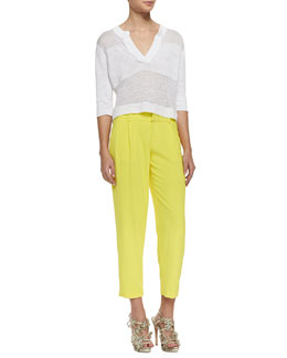 Alice + Olivia Shena Tonal Wide-Stripe Sweater & Arthur Pleated Relaxed Pants
