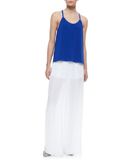 Alice + Olivia Loma Waterfall Drop Racerback Tank Top & High-Waist Sheer Wide-Leg Pants