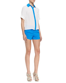 Alice + Olivia Jones Short-Sleeve Contrast-Trim Blouse & Butterfly Rounded Pleated Shorts