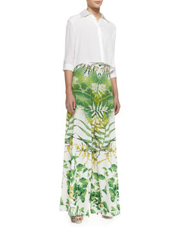 Alice + Olivia Sharon Cropped Button-Front Blouse & Super-Flare Floral-Print Pants