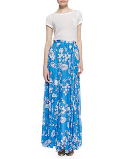 Alice + Olivia Rolled-Sleeve Front-Pocket Tee & Louie Pleated Floral-Print Maxi Skirt