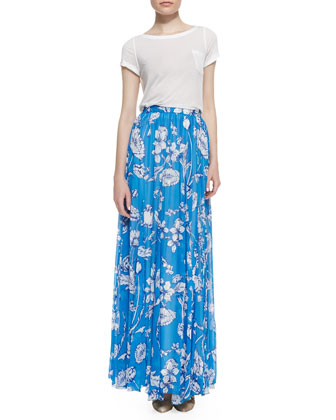 Rolled-Sleeve Front-Pocket Tee & Louie Pleated Floral-Print Maxi Skirt