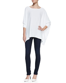 Alice + Olivia Boat-Neck Oversize Tee and Two-Button Dark Skinny Jeans