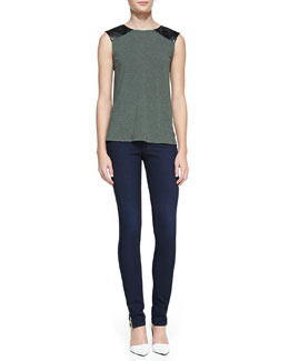 Alice + Olivia Leather-Shoulder Slub Top & Two-Button Dark Skinny Jeans