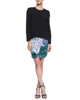 Dion Lee Neck-Ring Open-Back Top and Locked Notched Printed Skirt