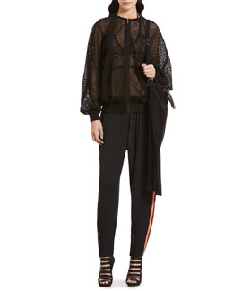 Gucci Perforated Suede Bomber Jacket, Mesh Bra Top & Embroidered Silk Jogging Pants