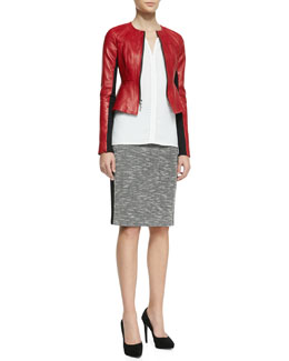 Nanette Lepore Sugar Leather/Knit Jacket, Lawless Stud-Trim Sleeveless Top & Alluring Solid-Trim Knit Skirt