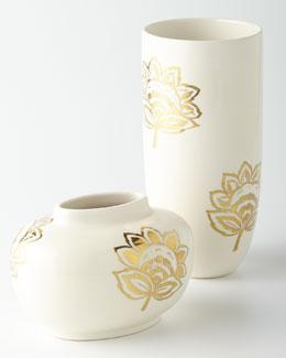 AERIN Gold Floral Vases