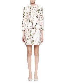 Dolce & Gabbana 3/4-Sleeve Printed Snap Jacket and Slim Printed Straight Skirt