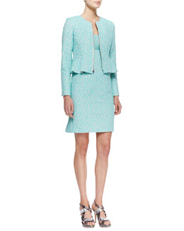 Nanette Lepore Crazy For You Zip-Front Jacket & Demure Square-Neck Sleeveless Dress