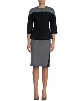 Fendi Bicolor Flannel Fitted Jacket & Pencil Skirt