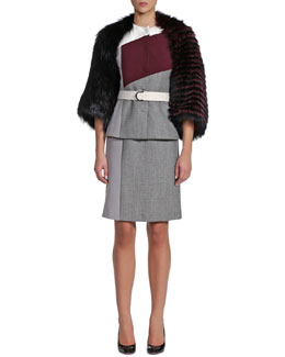Fendi Colorblock Mixed Fabric Jewel-Neck Coat, Sheath Dress & 3-Way Fur Shawl/Bolero Jacket