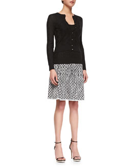 Cropped Zigzag Knit Cardigan, Tank & Vertical Fan-Stitch A-line Skirt