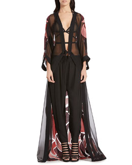Gucci Stained Glass Jacquard Caftan, Mesh Bra Top & Silk Crepe de Chine Jogging Pants