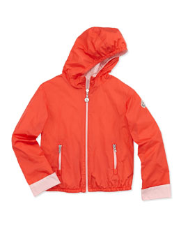 Moncler Thea Reversible Nylon Jacket, Coral, Toddler & Girls' Sizes