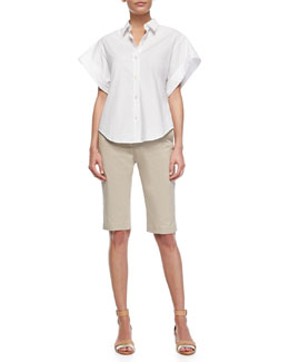 Theory Light Poplin Wide Short-Sleeve Shirt & Summer Twill Jitney Cropped Pants