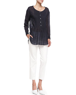 Theory Cotton Pintuck Button Blouse & Summer Twill Cropped Pants