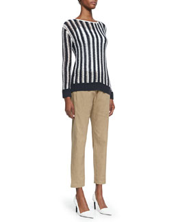 Theory Utopian Two-Tone Striped Sweater & Crunch Pull-On Pants