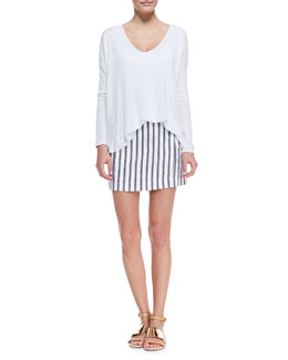 Theory Sag Harbour Oversize Lightweight Sweater & Chonos Striped Casual Skirt