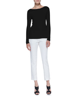 Theory Yabol Boat-Neck Knit Top & Patterned Twill Slim Cropped Pants