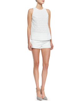 Theory Ellice Sleeveless Eyelet Top & Ellice Eyelet Cotton Shorts