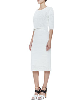Theory Arabis Cropped Knit Sweater & Arabis Knit High-Waist Skirt
