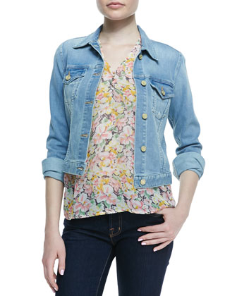 Classic Faded Denim Jacket & Macy B Floral-Print Blouse